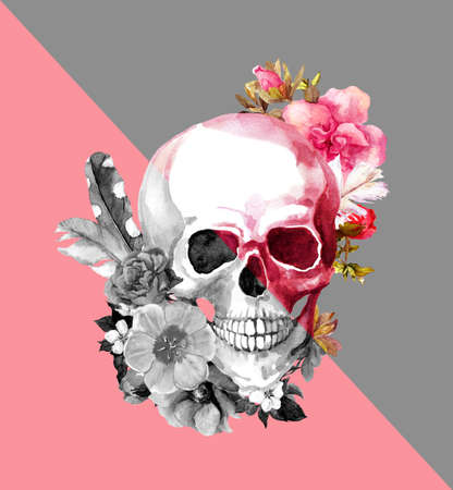 Pink and grey skull with flowers. Fashion illustration, dynamic edges