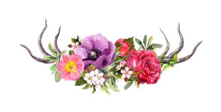 Deer horns with flowers. Watercolor in boho style