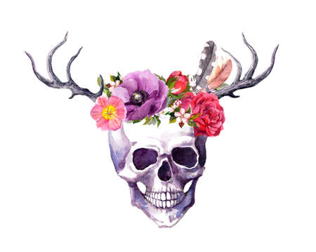 Human skull with horns of deer, flowers, feathers in vintage boho style. Watercolor for Death day