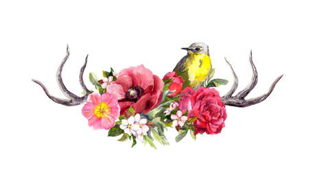Horns of deer animal with flowers, bird. Watercolor in vintage style Фото со стока