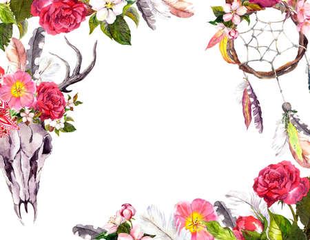 Deer skull with flowers, dream catcher. Frame, border, card for vintage boho design