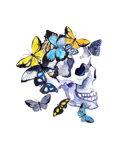 Human skull in profile with butterflies. Watercolor illustration for Halloween