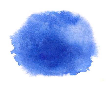 Blue watercolor stain with watercolour paint stroke, blots, wash edges