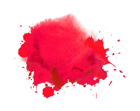 Red watercolour or ink stain with watercolor paint splash Фото со стока