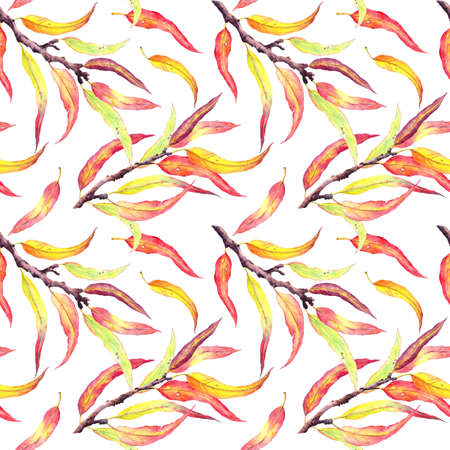 Autumn leaves on branches. Natural seamless pattern, watercolor wallpaper Фото со стока