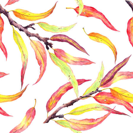 Red and yellow leaves, autumn branches. Abstract natural seamless pattern, watercolor Фото со стока