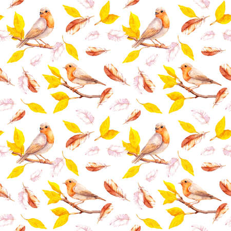 Yellow leaves on autumn branches with birds, falling feathers. Repeating background. Watercolor Фото со стока