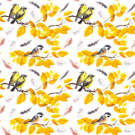 Birds on autumn branches with abctract yellow leaves, falling feathers. Decorative seamless pattern. Water color Фото со стока