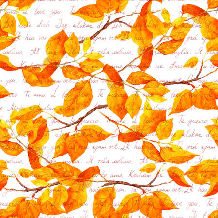 Watercolor autumn leaves, abstract branches. Seamless pattern with I love you hand written notes in different languages