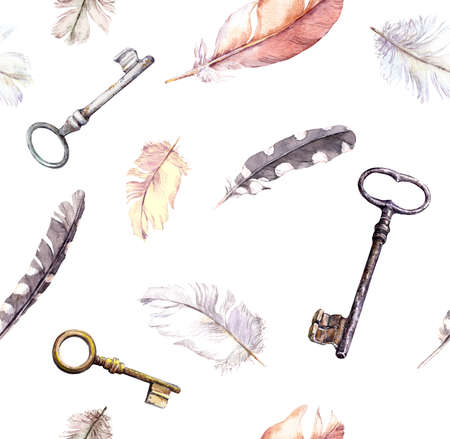 Feathers, keys pattern. Water color repeated boho background