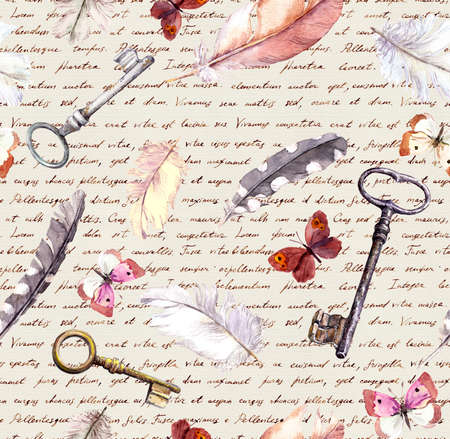 Feathers, butterflies and keys background, paper texture with handwritten text . Watercolour vintage seamlesss pattern