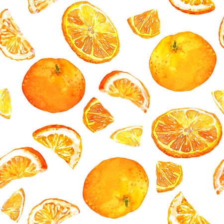 Summer pattern with oranges. Seamless texture design Фото со стока