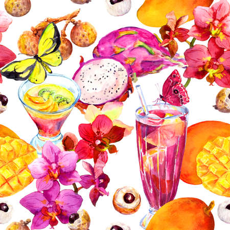 Exotic fruit drinks, cocktail - seamless tropical pattern. Mango, dragon fruit, litchi, orchid flowers, butterflies. Watercolor