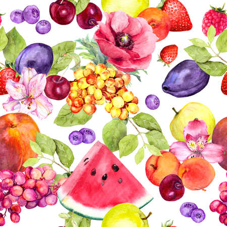 Summer fruits, berries and flowers. Seamless food pattern. Watercolor
