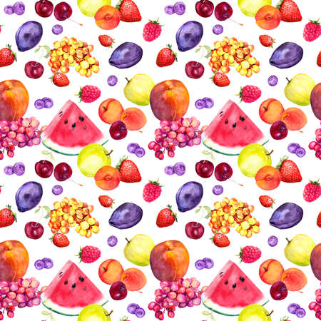 Mix of summer fruits and berries. Seamless food pattern. Watercolor Фото со стока