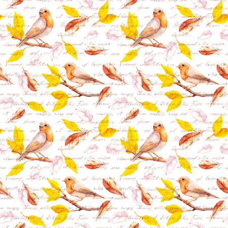 Birds on autumn branch with yellow leaves, falling feathers. Seamless pattern with hand written text - I love you words in different languages. Water color