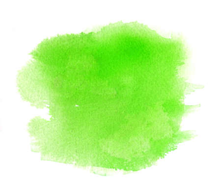 Green watercolor stain with water color paint stroke, blotchiness. Spring textured pattern