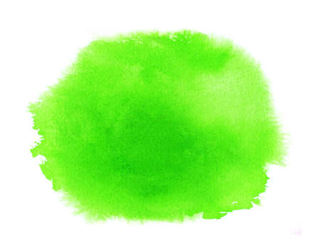 Green spring watercolor texture stain with water colour paint smudge, brush strokes