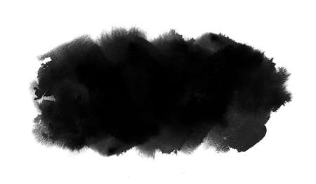 Long black watercolor spot with watercolour paint splash, wash texture. Ink background for Black Friday, Halloween banner
