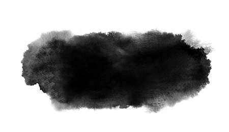 Black watercolor long stain with paint blotch, brush stroke Фото со стока