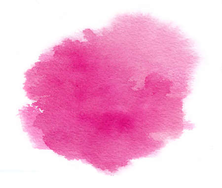 Bright magenta watercolor stain with water colour paint stroke