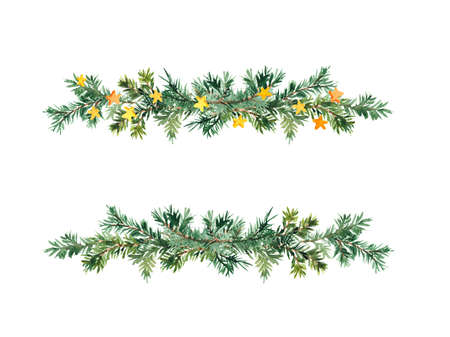 Spruce branches in decorative border. Simple Christmas tree twigs, stars. Fir, pine design