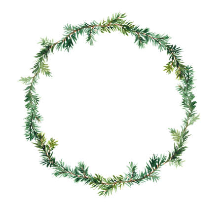 Christmas tree branches wreath. Pine, spruce twigs in round frame. Watercolor design