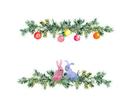 Spruce branches in decorative border. Simple Christmas tree twigs with baubles, rabbits. Fir, pine design