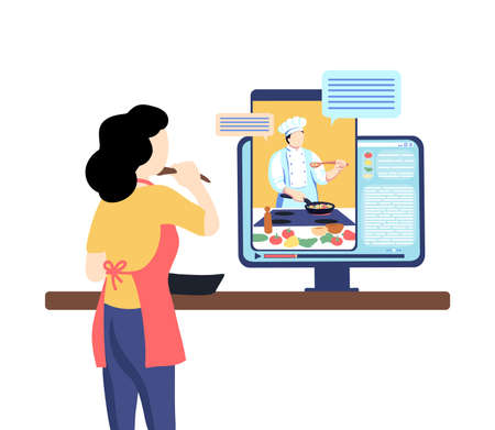 Woman cooks with chef man on display of computer. Distant cooking education. Internet culinary school. Vector online recipe