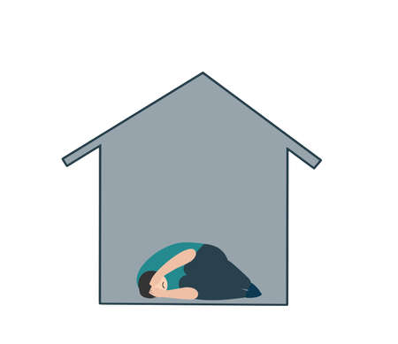 Sad man in depression laying alone in house. Vector metaphor for lonely depressed person in stress, psychology problem