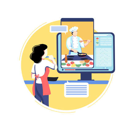Online cooking education. Woman watch display with video of chef teacher at kitchen, internet culinary master class. Virtual food preparing course with professional cook. Vector