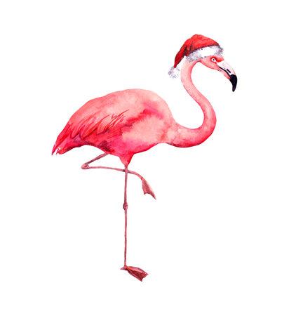 Christmas flamingo in red santas hat. Watercolor bird