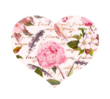 Peony flowers, sakura, feathers. Vintage seamless floral pattern with hand written letter. Watercolor Archivio Fotografico
