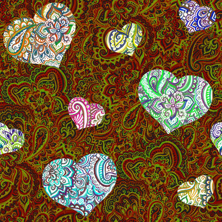 Seamless ornamental pattern - ornate hearts on bright red eastern background