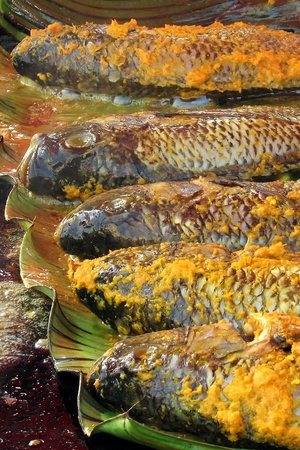 Hot grilled fish, blend in spices and layered in banana leaf photo