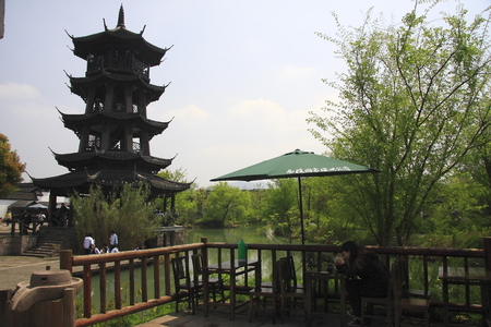 Xixi National Wetland Park, is the first and only set of urban wetlands, agricultural wetlands, cultural wetlands in one of the National Wetland Park. The picture shows the river bank tower.