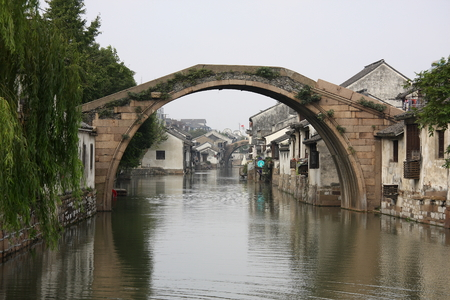 Stone arch bridge on the Grand Canalthe ancient town of Nanxun