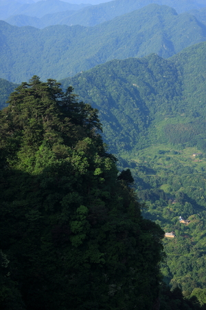 Taoist Temple - Wudang Mountain in Shiyan City, Hubei Province territory. pictures as a small village.
