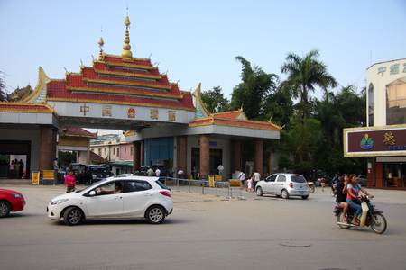 national border: Sister divisions port for connecting national border crossings with Myanmar town of Muse. Daily from Myanmar to sue sister vehicles, small traders, workers and students in and out of, the formation of a beautiful landscape.