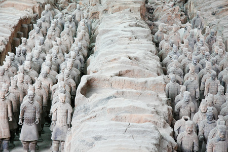 qin: Terracotta Warriors pit located in this Lintong, Shaanxi Province, is one of the greatest discoveries and Horses of Qin Shi Huang Mausoleum part