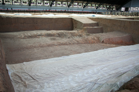 qin: Terracotta Warriors pit located in this Lintong, Shaanxi Province, is one of the greatest discoveries and Horses of Qin Shi Huang Mausoleum