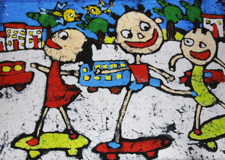child s: Painting is a group of 10 children under the age of the child s creativity graffiti, demonstrated their whimsy of a happy paradise.