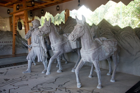 relics: Horse sculpture is on display in Tengchong relics caravan caravan rolls Heritage Museum. Editorial