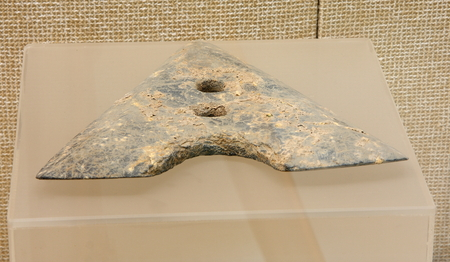 groundbreaking: Stone ground-breaking device (Qianshanyang culture), Wuxing Qian Shan Yang unearthed collection in Huzhou, Zhejiang Museum.