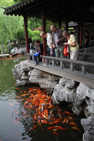 believers: Foreign tourists to feed the fish. Shanghai Temple is a tourist paradise, is an important Taoist temples in Shanghai, is a shopper's paradise at home and abroad.