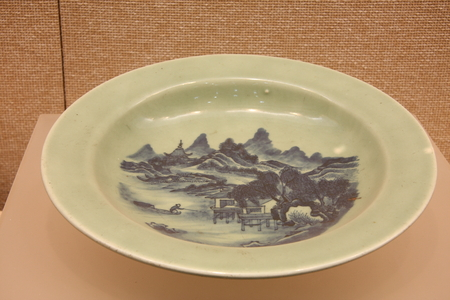 dynasty: Celadon porcelain blue and white beans fishing map (Qing Dynasty), the collection in Huzhou, Zhejiang Museum.