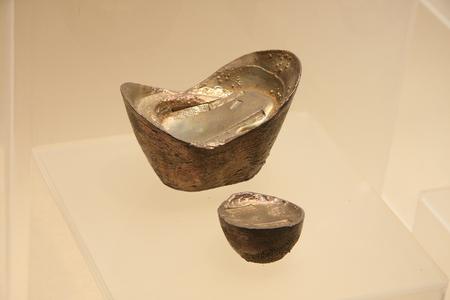 silver ingots: Silver ingots (clear), collections in Huzhou, Zhejiang Museum.