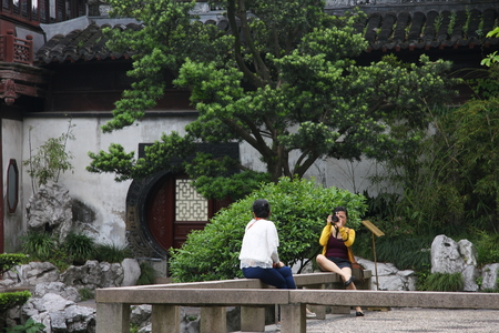 visitors area: Shanghai Temple tourist area is important Taoist temples in Shanghai,visitors photo shooting there.