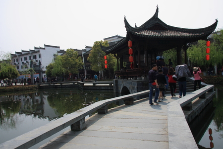 sh: Great hometown - Riverside is located in the scenic Wuyuan, Jiangxi Province, the famous attractions that Xiao Jiangzong Riverside shrine temple, brick, wood carving, stone carving realistic shape, full of elegant architectural elegance.pictured of sh Editorial