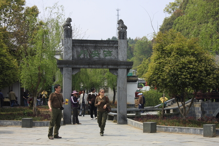 inkstone: Great hometown - Riverside is located in the scenic Wuyuan, Jiangxi Province, the famous attractions that Xiao Jiangzong Riverside shrine temple, brick, wood carving, stone carving realistic shape, full of elegant architectural elegance. pictured of v